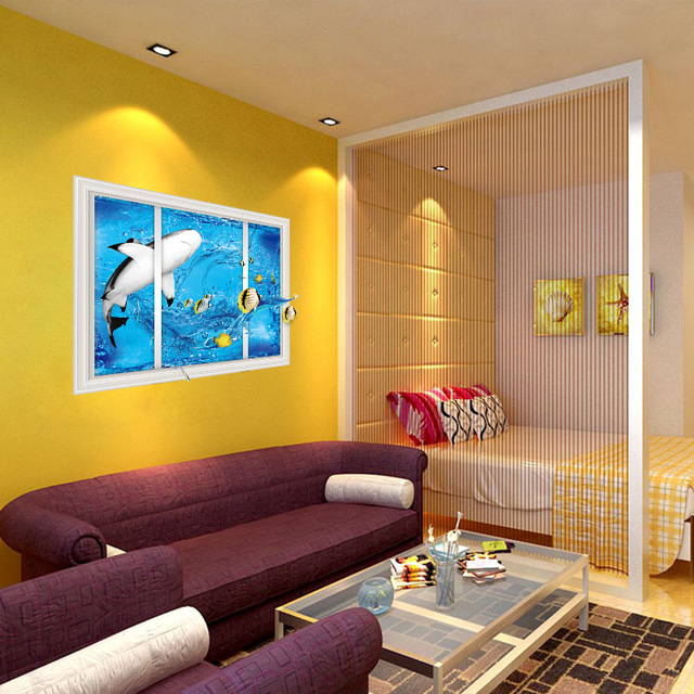 3d shark fake windows Children\'s Room cartoon Learning Wall Stickers ...
