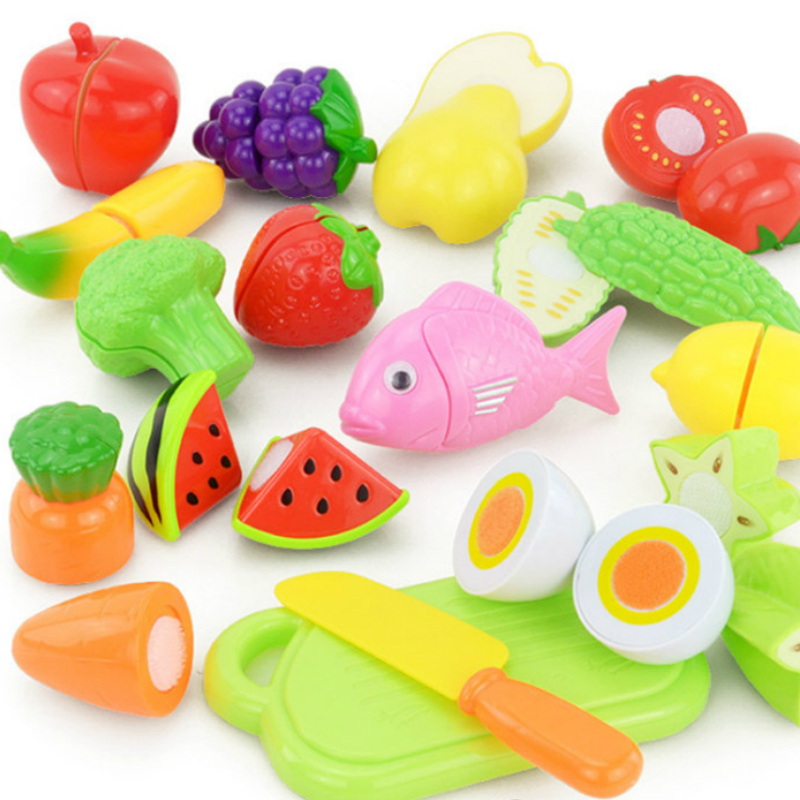 16Pc/set Plastic Kitchen Food Fruit Vegetable Cutting Toys Kids Pretend Play Educational Kitchen Toys Cook Cosplay Children ZW02