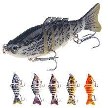 5Pcs/lot 10cm 16g 3D Eyes Wobblers 7 Segments Lifelike Fishing Bait Lures Crankbait Hard With Hooks