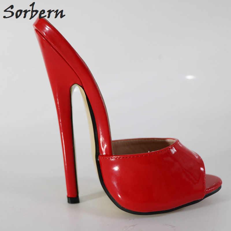 Sorbern Sexy Red 18Cm wysokie obcasy z wystającym palcem niestandardowe kolory Ultra szpilki letnie buty sandały damskie dla kobiet 2018 Spike obcasy