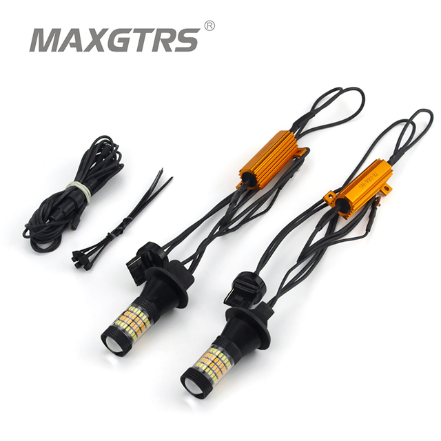 2X T20 7440 W21W LED Dual Color White/Amber Yellow Switchback Turn Signal Light + Canbus Error Free Decoder Load Resistor W21W
