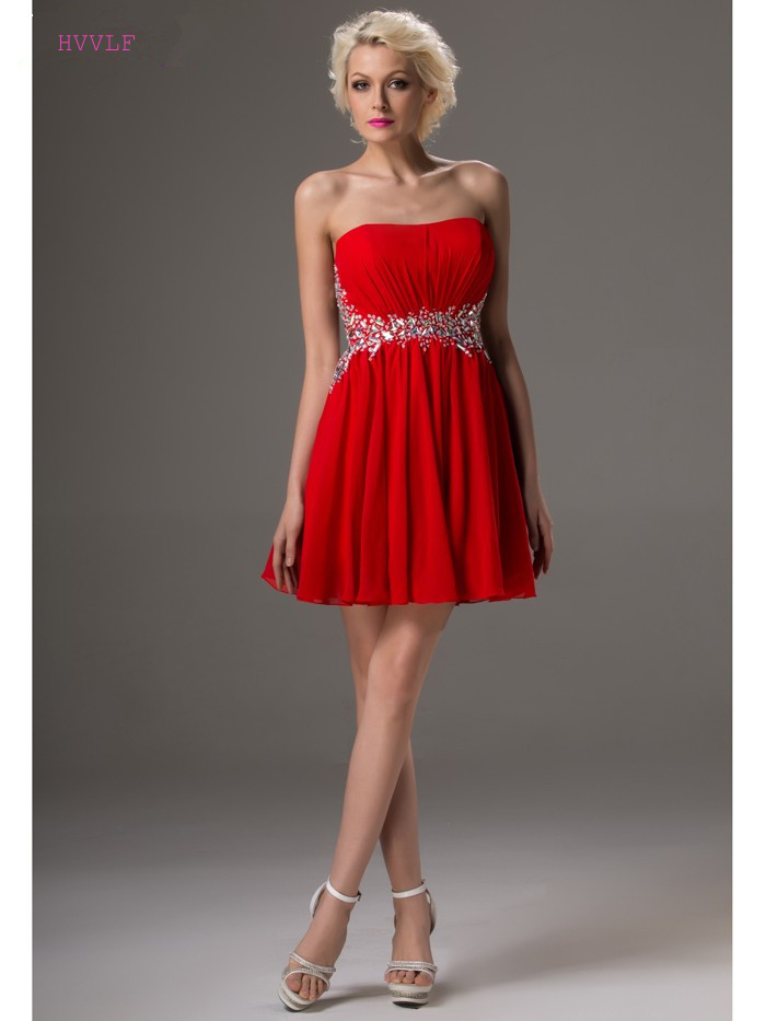 Red 2019 Elegant   Cocktail     Dresses   A-line Strapless Short Mini Chiffon Beaded Backless Plus Size Party Homecoming   Dresses