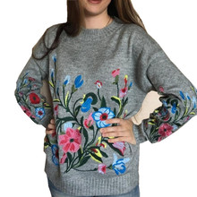 Hchenli 2017 Women Grey Flower Embroidered Sweater Knitwear Ladied Black Wine Red Pullover O neck Sweatersuit