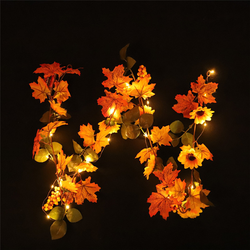 30 LED Lighted Fall Autumn Pumpkin Maple Leaves Garland Halloween Decor