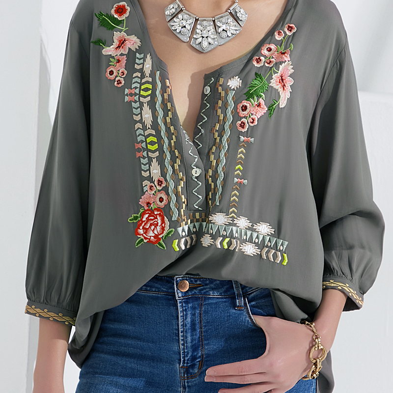 CORUJA Fashion Women's Clothing Flower Embroidery Blouses Long Sleeve V-Neck Buttons Shirt Ethnic Casual Floral Shift Blouse