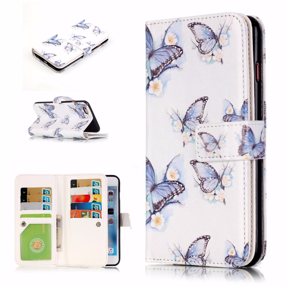 Nine card Relief PU Leather 4.7 For Apple iPhone 6 6s iPhone 6s Case For Apple iPhone 6s Mobile Phone back Cover Case