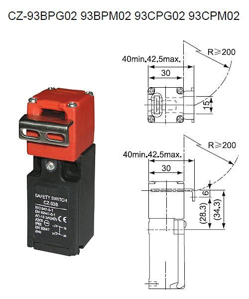 CZ 93B CNTD Waterproof CZ 93 Series 2NC Safety Interlock Limit Switch With Key 15A