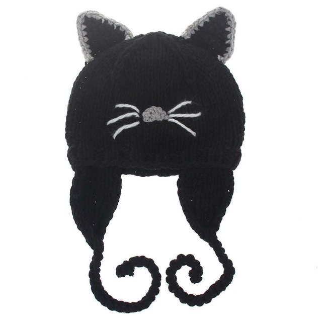 3b14b76de54 Cat Ears Cute Winter Hats For Kids 2017 Children Caps Wool Knitted Baby  Boys Girls Crochet