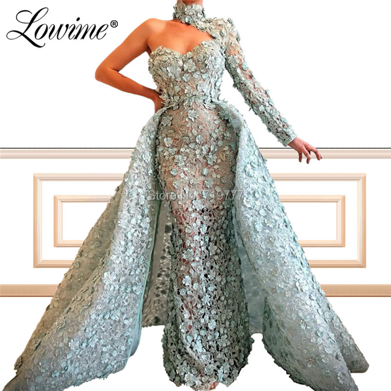Illusion Lace One Shoulder   Evening     Dresses   Sexy Long Sleeve Party Gown 2019 Custom Made Arabic Mermaid Prom   Dress   Robe De Doiree