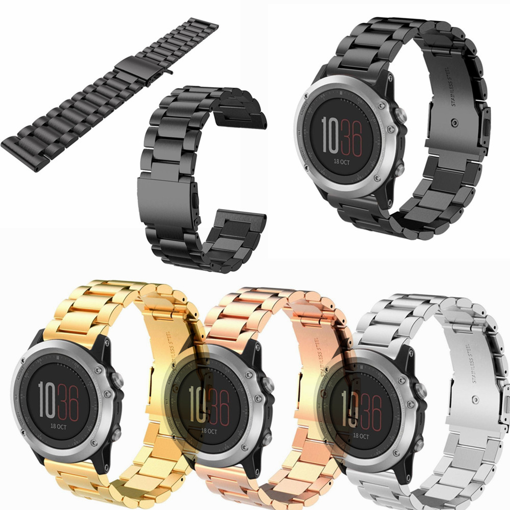 Four Colors 26mm Width Classic Stainless Steel Metal Strap for Garmin Band, Metal Band for Garmin Fenix 3 watchbands joyozy multi color silicone band for garmin fenix 5x 3 3hr strap 26mm width outdoor sport soft silicone watchband for garmin 26mm band