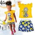 Summer Girls Ropa Casual Set Niños de Manga Corta Camiseta de La Historieta + Pantalones cortos Trajes Del Deporte 2016 Sistemas de La Ropa para niños