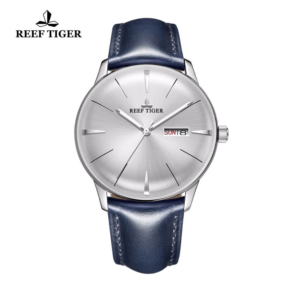 2018 New Reef Tiger/RT Dress Watches for Men Blue Leather Band  Convex Lens White Dial Automatic Watches RGA8238 yn e3 rt ttl radio trigger speedlite transmitter as st e3 rt for canon 600ex rt new arrival