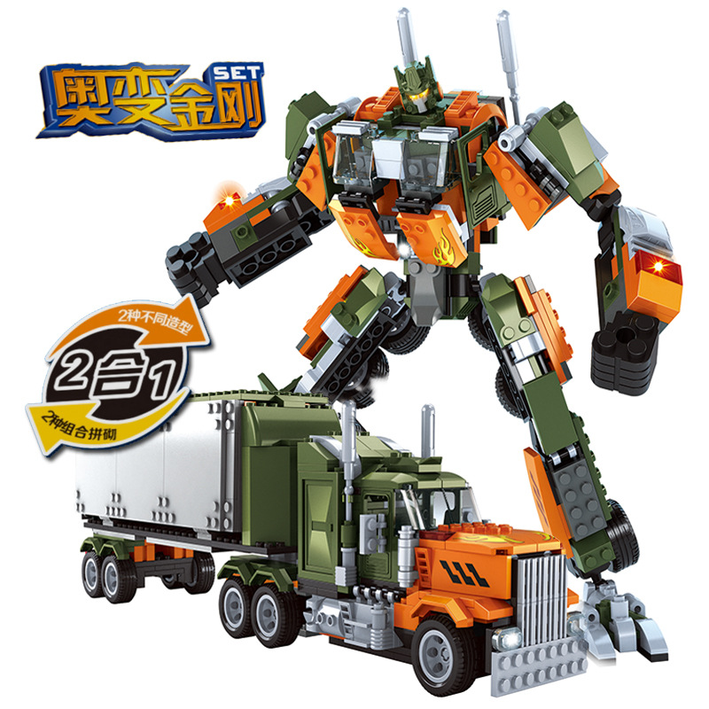 Model building kits compatible with lego Robot deformation Truck 3D blocks Educational model building toys hobbies for children