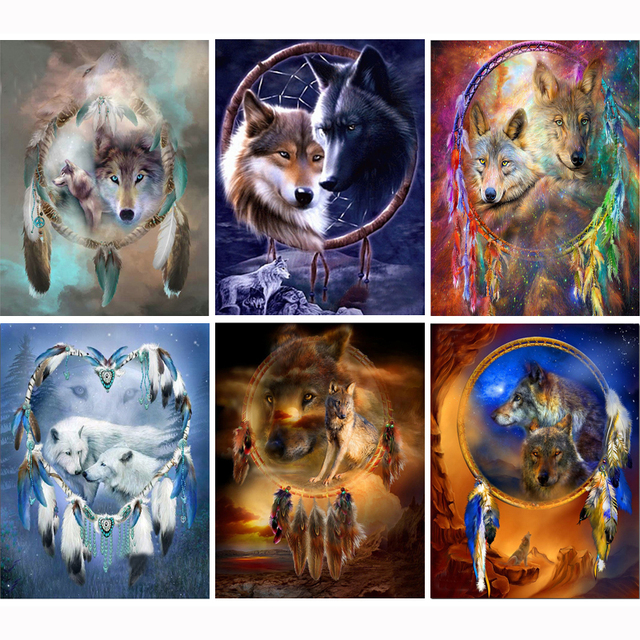 Icon Diamond Embroidery Wolf Mosaic Crystal 5D Cross Stitch Square Drill Diamond Painting DIY Sticker Decoration Paintings WL315