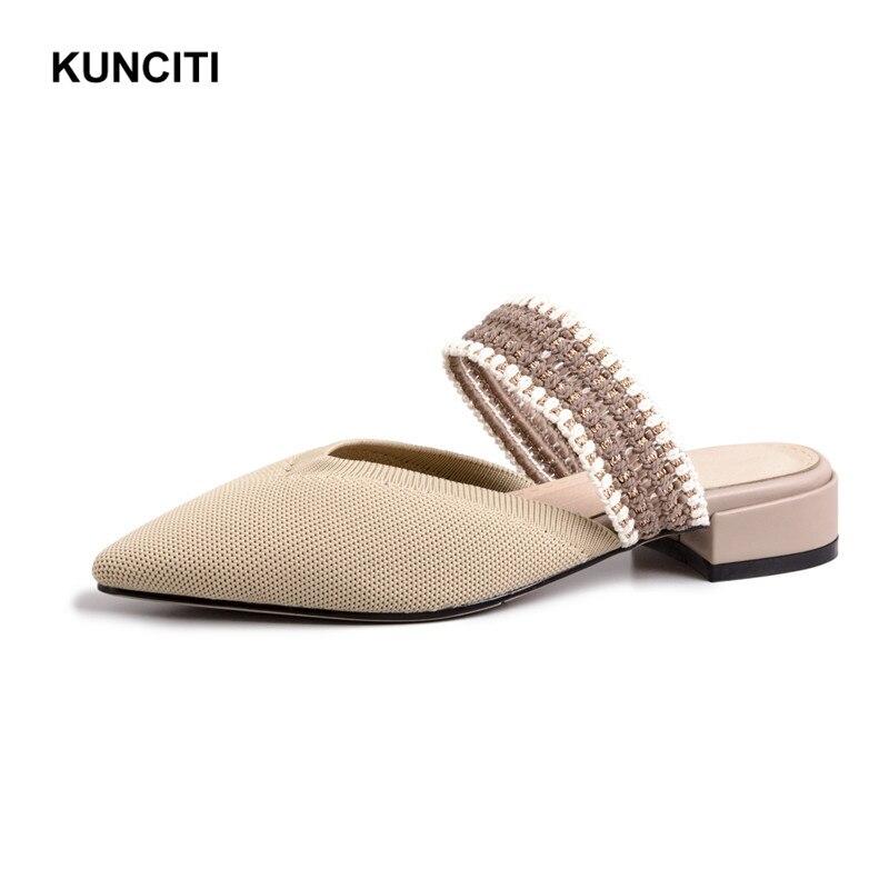 2019 KUNCITI Fashion Summer Pointy Toe Knitting Stretch Fabric Sexy Women Slippers Low Heel Woman Slides