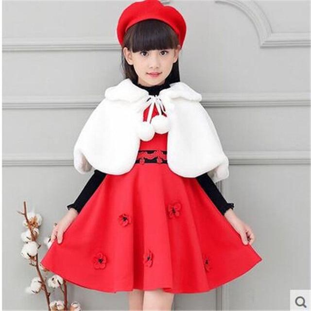 ab773f7cb5ae Clobee 2017 Autumn Winter Girls Faux Fur Coat Princess Wedding White ...