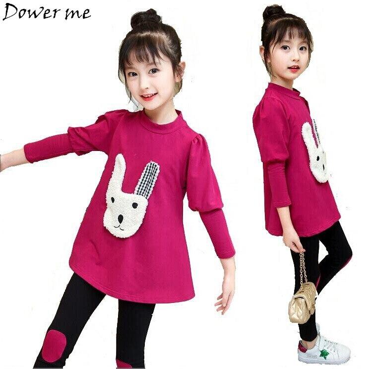 Autumn Cute Children Princess Outfits Clothes Sets kids Girls Cotton Sport Suit Cartoon Rabbit T-shirt Pant Suit Girls Clothing