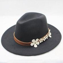 Otoño Invierno de ala ancha sombrero Fedora hombres marrón Jazz sombrero de  ala plana Gorra de fieltro sombrero lana sombrero pa. 0579d48ef4d