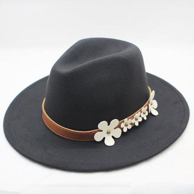 51fcaddec204f Autumn Winter Wide Brim Fedora Men Brown Jazz Hat Flat Brim Felt Cap Trilby  Wool Bowler Hats for Women Jewish Hat