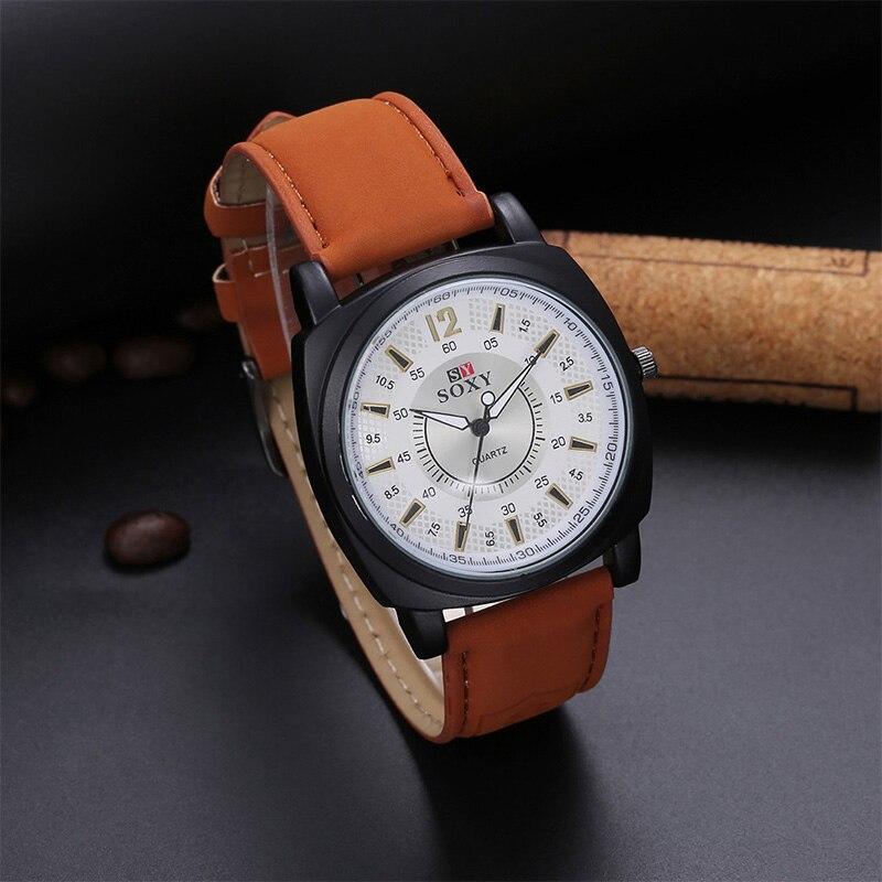 8f404063b17 SOXY Marca Quartz Relógio de Luxo Homens De Couro masculino masculino  relojes relógio de Pulso Relógio Do Esporte fora da porta wacthes hora de  alta ...