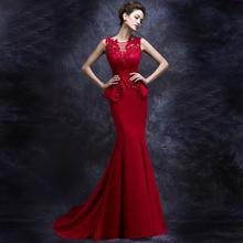 2016 new Hot sale Korean Style v neck Bride evening dress long design red fashion fishtail banquet Vestidos de fiesta maxi dress