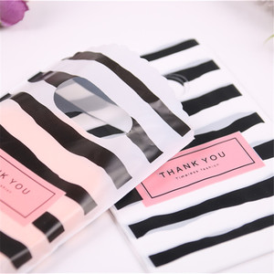 Image 5 - Wholesale 50pcs/lot New Design Black&white Striped Packaging Bags for Gift Small Plastic Jewellery Pouches with Thank You