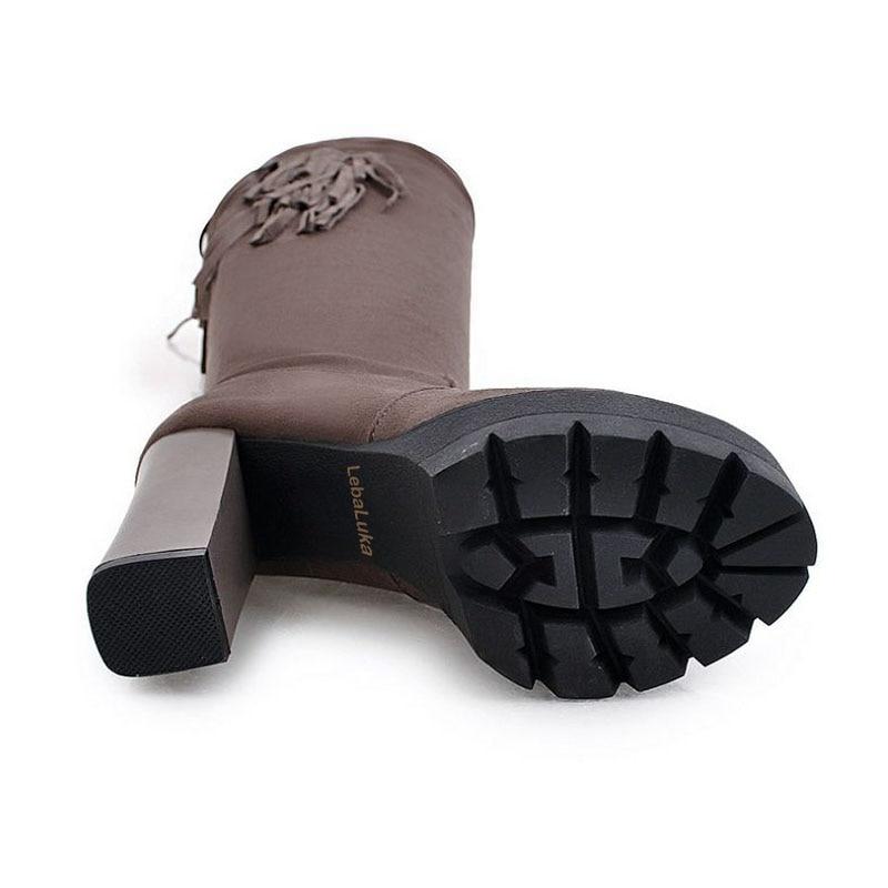 Gland Noir Long Chaussures Chaudes 43 Lebaluka À Talons Plate Botas Femmes Taille 34 Pour Hauts Bottes forme gris L'automne khaki Footwears Bootsfur aPqHP0Ew