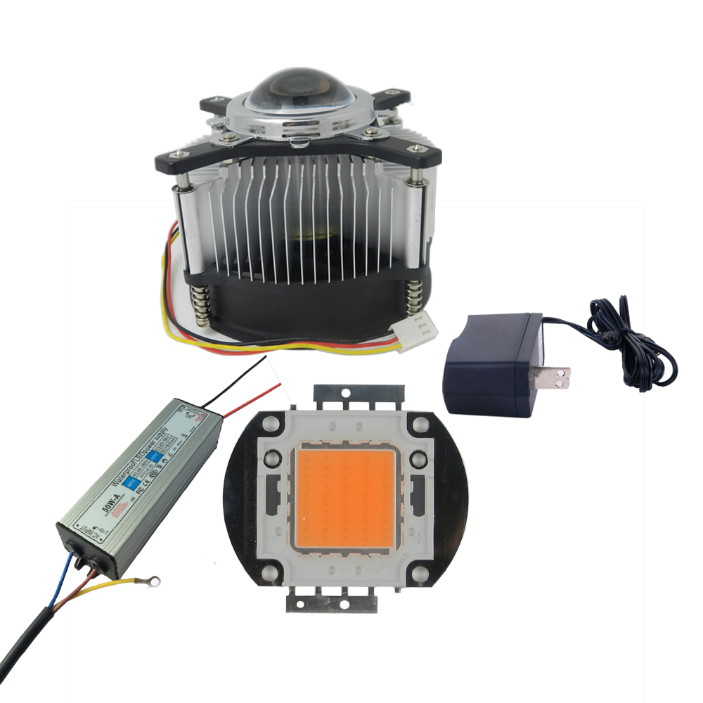 50W DIY full spectrum Grow Kit,50w Full Spectrum Led Grow light chip with Waterproof Led Driver,heat Sink, Fan And Driver,lens цена и фото