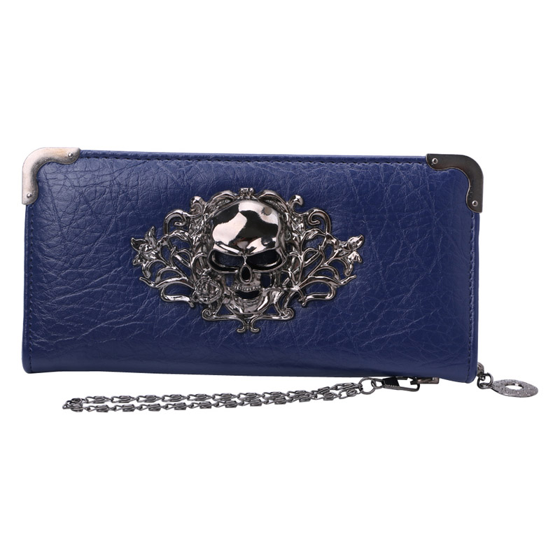 THINKTHENDO Women Girl Fashion Punk Skull Clutch Bag Long Purse Handbag Vintage Rivet Wallet Coin Purses 5 Colors
