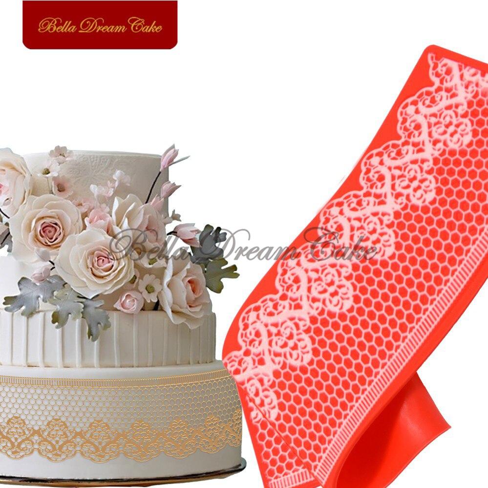 Купить кружевной коврик для торта с сотами и цветами сахарный силиконовый