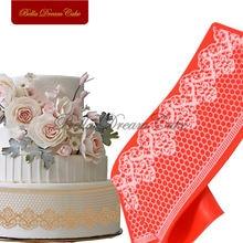 Кружевной коврик для торта с Сотами и цветами сахарный силиконовый