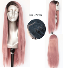 Lvcheryl Hand Tied Ombre Pink Dark Roots Ombre Wigs Silky Straight Deep L Parting Glueless Synthetic Lace Front Wigs for Women