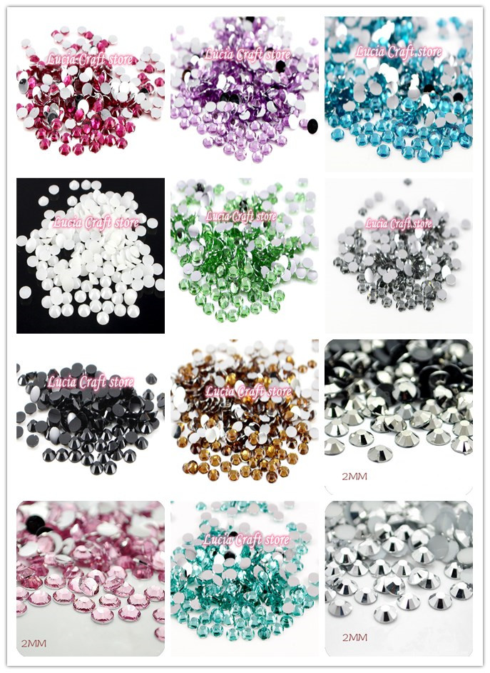 Lucia Crafts 2mm 2880pcs/lot Multi Colors for selection SS6 FlatBack Resin Rhinestone DIY Nail Art 12010202(2880)