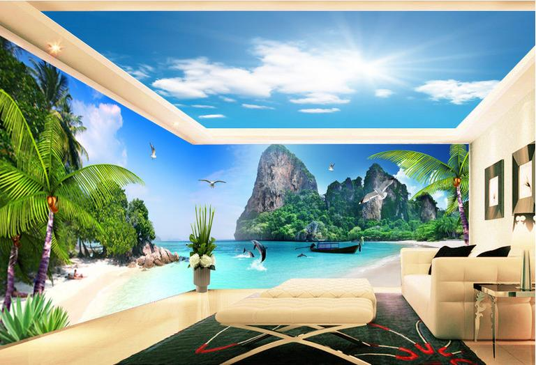 custom wall murals colorful jungle wall murals in living