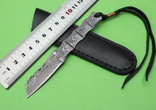 OEM Small fixed blade knife, Damascus bamboo shape steel one whole straight hunting knives outdoor camping survival hand tools