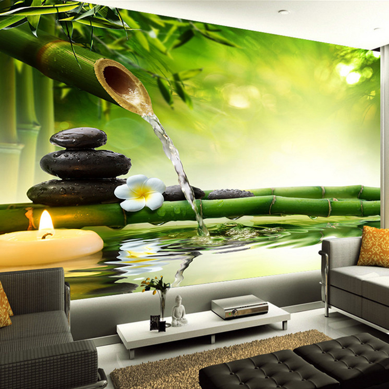 Custom 3D Photo Wallpaper Living Room TV Backdrop Green Bamboo Flowing Water Natural Landscape Interior Decoration Wall Painting