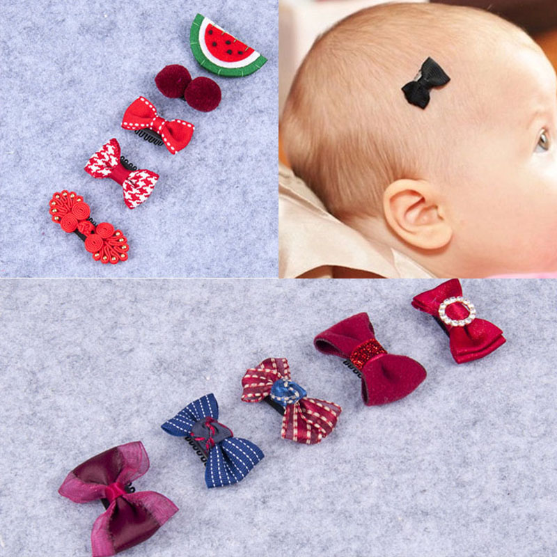 5 Pcs/Set Baby Girls Bowknot Hair Clip Sets Toddler Kids Crown Hairpins Infant Child Star Headgear Children's Floral   Headwear