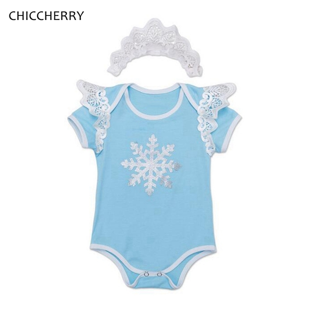 Céu Azul Floral Neve Do Natal Do Bebê Roupas de Menina Recém-nascidos Bodysuit Rendas Headband Infantil Bebe Macacão Roupa Roupas De Natal
