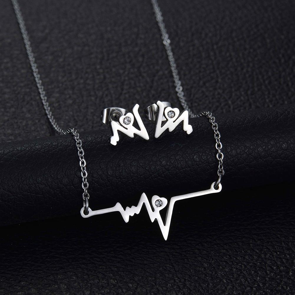 Fashion ECG Heartbeat Rhinestone Metal Necklace Earrings Women Jewelry Set Gift 2019