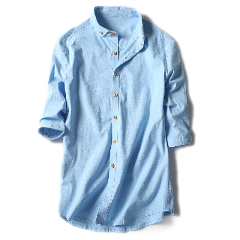 linen shirt men slim fit Three Quarter Sleeve shirt 2017 Summer Men Shirts Casual Solid White Cotton Flax Shirts Plus Size 4XL