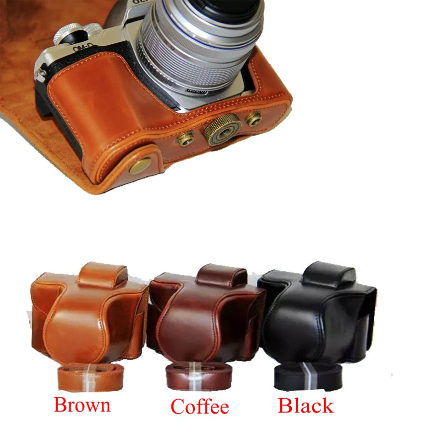 New Pu Leather Camera Case Bag For Olympus EM10 Mark II EM10 III EM10 II EM10 Mark III Camera Bag Cover With Strap