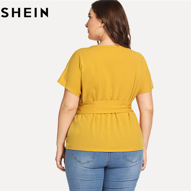 SHEIN Ginger Casual Belted O Neck Raglan Short Sleeve Plus Size Women Blouses Summer Elegant Tie Waist Solid Blouse With Sashes 1