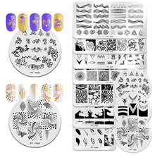PICT YOU Stamping Plates Stainless Steel Rose Flower Series Nail Image Stamp Template Design With Stamper