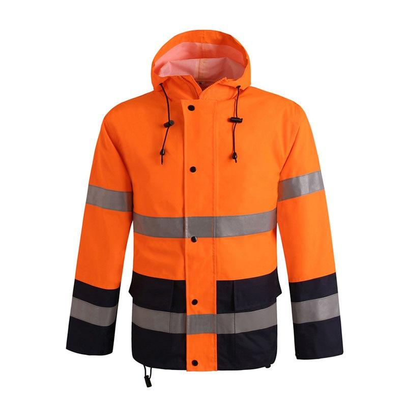 Mens Waterproof Reflective Safety Rain Jacket Pants Oxford Fabric Workwear Safety Traffic Jacket Fluorescent Orange Black