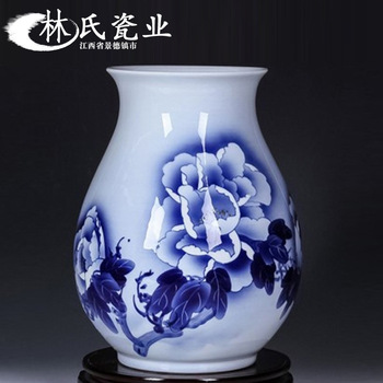 Jingdezhen Ceramics Hand-painted Blue Lotus Vase Arrangement Porcelain Vase and Flower Ornaments