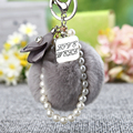 Fluffy 8Cm Rabbit Fur Keychain Pearl Alloy Key Chain Car&Bag Charm Pompom Key Chain Fur Pompon Keyring Flowers Keychain Key Ring