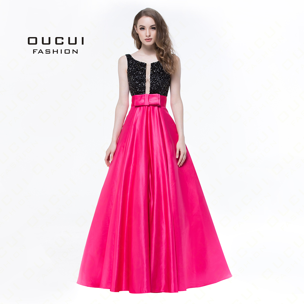 Real Photos Rose Red Color Crystal Boat Neck Prom Ball Gown Formal Long Evening Dress Wide