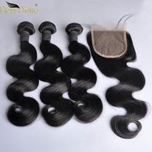 Tissage en lot péruvien non remy avec Closure, cheveux humains, couleur noire naturelle, pre plucked, avec Lace Closure de bébé, lot de 3 pièces