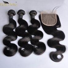 פרואני שיער Weave חבילות עם סגירת תינוק שיער מראש למרוט סגירת תחרה עם שיער טבעי 3 pcs צבע טבעי שחור לא רמי שיער