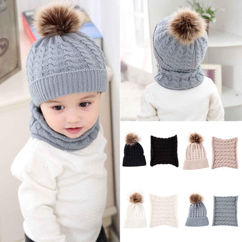 2ec4f097161 2018 Multitrust Brand 2Pcs Cute Kid Girl Boy Baby Infant Winter Warm  Crochet Knit Hat Beanie